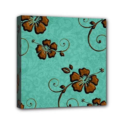 Chocolate Background Floral Pattern Mini Canvas 6  X 6