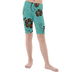 Chocolate Background Floral Pattern Kids  Mid Length Swim Shorts