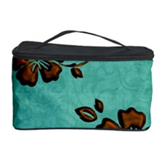 Chocolate Background Floral Pattern Cosmetic Storage Case
