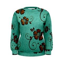 Chocolate Background Floral Pattern Women s Sweatshirt