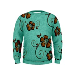 Chocolate Background Floral Pattern Kids  Sweatshirt