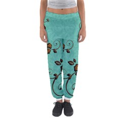 Chocolate Background Floral Pattern Women s Jogger Sweatpants