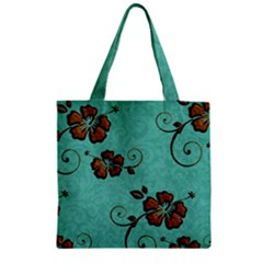 Chocolate Background Floral Pattern Zipper Grocery Tote Bag