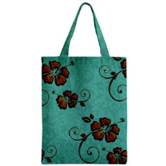 Chocolate Background Floral Pattern Zipper Classic Tote Bag