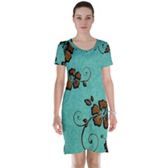 Chocolate Background Floral Pattern Short Sleeve Nightdress