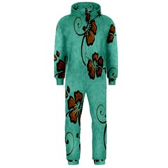 Chocolate Background Floral Pattern Hooded Jumpsuit (men)