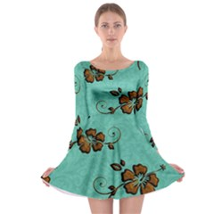 Chocolate Background Floral Pattern Long Sleeve Skater Dress