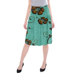 Chocolate Background Floral Pattern Midi Beach Skirt