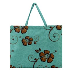 Chocolate Background Floral Pattern Zipper Large Tote Bag