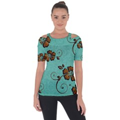 Chocolate Background Floral Pattern Short Sleeve Top