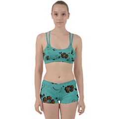 Chocolate Background Floral Pattern Women s Sports Set
