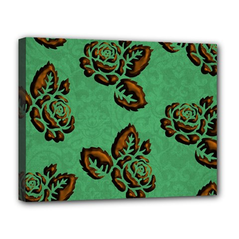 Chocolate Background Floral Pattern Canvas 14  X 11