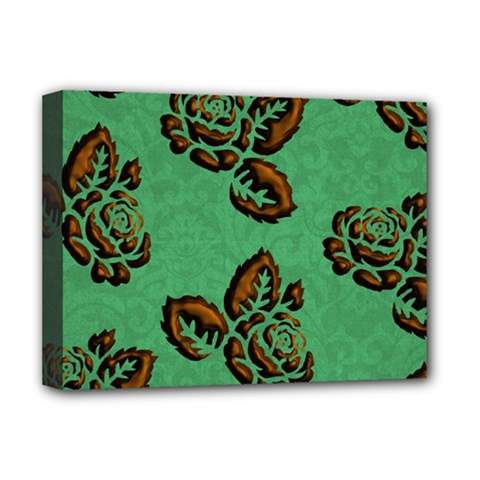 Chocolate Background Floral Pattern Deluxe Canvas 16  X 12