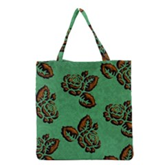 Chocolate Background Floral Pattern Grocery Tote Bag