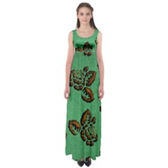 Chocolate Background Floral Pattern Empire Waist Maxi Dress