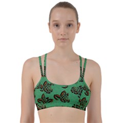 Chocolate Background Floral Pattern Line Them Up Sports Bra