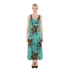 Chocolate Background Floral Pattern Sleeveless Maxi Dress