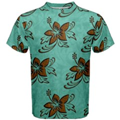 Chocolate Background Floral Pattern Men s Cotton Tee