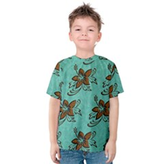 Chocolate Background Floral Pattern Kids  Cotton Tee