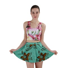 Chocolate Background Floral Pattern Mini Skirt