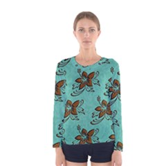 Chocolate Background Floral Pattern Women s Long Sleeve Tee