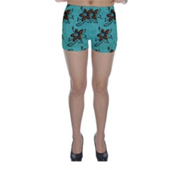Chocolate Background Floral Pattern Skinny Shorts
