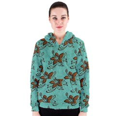 Chocolate Background Floral Pattern Women s Zipper Hoodie