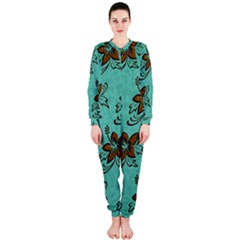 Chocolate Background Floral Pattern Onepiece Jumpsuit (ladies)
