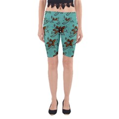 Chocolate Background Floral Pattern Yoga Cropped Leggings