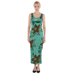 Chocolate Background Floral Pattern Fitted Maxi Dress