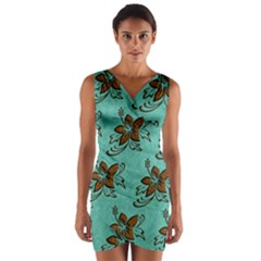 Chocolate Background Floral Pattern Wrap Front Bodycon Dress