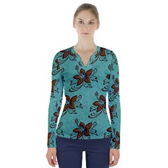 Chocolate Background Floral Pattern V Neck Long Sleeve Top