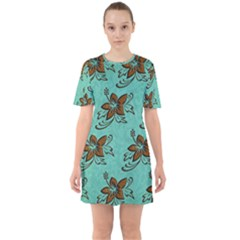 Chocolate Background Floral Pattern Mini Dress