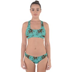 Chocolate Background Floral Pattern Cross Back Hipster Bikini Set