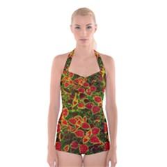 Flower Red Nature Garden Natural Boyleg Halter Swimsuit