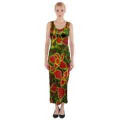 Flower Red Nature Garden Natural Fitted Maxi Dress