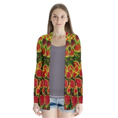 Flower Red Nature Garden Natural Drape Collar Cardigan