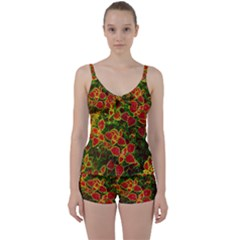 Flower Red Nature Garden Natural Tie Front Two Piece Tankini