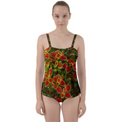 Flower Red Nature Garden Natural Twist Front Tankini Set