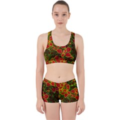 Flower Red Nature Garden Natural Work It Out Sports Bra Set
