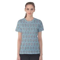 Texture Background Beige Grey Blue Women s Cotton Tee