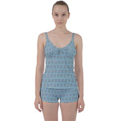 Texture Background Beige Grey Blue Tie Front Two Piece Tankini
