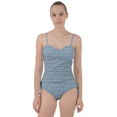 Texture Background Beige Grey Blue Sweetheart Tankini Set