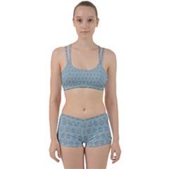 Texture Background Beige Grey Blue Women s Sports Set