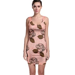 Chocolate Background Floral Pattern Bodycon Dress