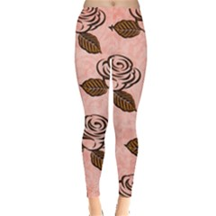 Chocolate Background Floral Pattern Leggings