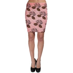 Chocolate Background Floral Pattern Bodycon Skirt
