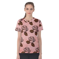Chocolate Background Floral Pattern Women s Cotton Tee