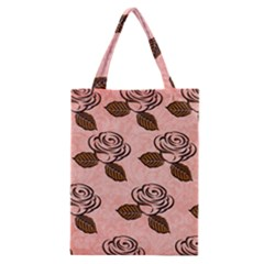 Chocolate Background Floral Pattern Classic Tote Bag