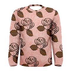 Chocolate Background Floral Pattern Men s Long Sleeve Tee